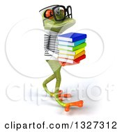 Clipart Of A 3d Bespectacled Green Springer Frog Sailor Walking To The Right And Holding A Stack Of Books Royalty Free Illustration