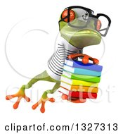 Clipart Of A 3d Bespectacled Green Springer Frog Sailor Leaping To The Right And Holding A Stack Of Books Royalty Free Illustration