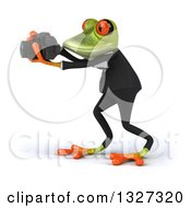 Clipart Of A 3d Green Business Springer Frog Facing Left And Taking Pictures Royalty Free Illustration