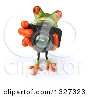 Clipart Of A 3d Green Business Springer Frog Looking Up And Taking Pictures Royalty Free Illustration