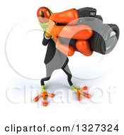 Clipart Of A 3d High View Of A Green Business Springer Frog Taking Pictures Facing Slightly Right Royalty Free Illustration
