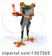 Clipart Of A 3d Green Business Springer Frog Holding Up A Thumb And Taking Pictures Royalty Free Illustration