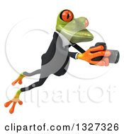 Clipart Of A 3d Green Business Springer Frog Leaping To The Right And Taking Pictures Royalty Free Illustration