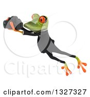 Clipart Of A 3d Green Business Springer Frog Leaping To The Left And Taking Pictures Royalty Free Illustration