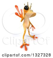 Clipart Of A 3d Yellow Frog Prince Facing Right And Waving Royalty Free Illustration by Julos