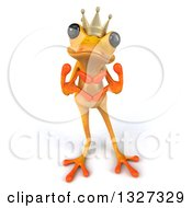 Clipart Of A 3d Yellow Frog Prince Looking Up And Forming A Heart With His Hands Royalty Free Illustration by Julos