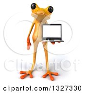 Clipart Of A 3d Yellow Frog Holding A Laptop Computer Royalty Free Illustration