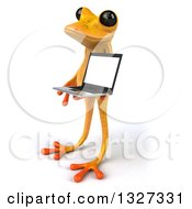 Clipart Of A 3d Yellow Frog Facing Left And Holding A Laptop Computer Royalty Free Illustration by Julos