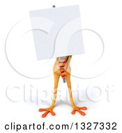 Clipart Of A 3d Yellow Frog Holding A Blank Sign Royalty Free Illustration by Julos