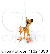 Clipart Of A 3d Yellow Frog Holding Up A Blank Sign Royalty Free Illustration by Julos