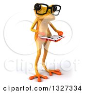 Clipart Of A 3d Bespectacled Yellow Springer Frog Facing Slightly Right And Reading A Book Royalty Free Illustration