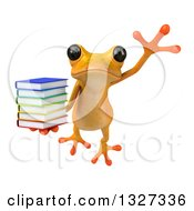 Clipart Of A 3d Yellow Springer Holding A Stack Of Books And Leaping Royalty Free Illustration