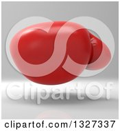 Clipart Of A 3d Red Boxing Glove Over Gray Royalty Free Illustration