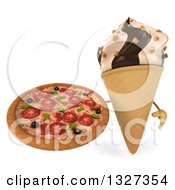 Clipart Of A 3d Chocolate And Vanilla Swirl Waffle Ice Cream Cone Character Holding Up A Pizza Royalty Free Illustration
