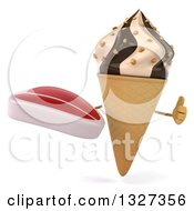 Clipart Of A 3d Chocolate And Vanilla Swirl Waffle Ice Cream Cone Character Holding A Beef Steak And Thumb Up Royalty Free Illustration