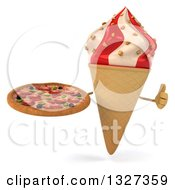 Clipart Of A 3d Strawberry And Vanilla Swirl Waffle Ice Cream Cone Character Giving A Thumb Up And Holding A Pizza Royalty Free Illustration
