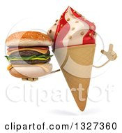 Clipart Of A 3d Strawberry And Vanilla Swirl Waffle Ice Cream Cone Character Holding Up A Finger And A Double Cheeseburger Royalty Free Illustration