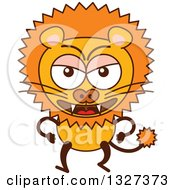Clipart Of A Cartoon Angry Male Lion Royalty Free Vector Illustration by Zooco