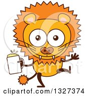 Clipart Of A Cartoon Male Lion Dancing With Beer Royalty Free Vector Illustration by Zooco