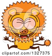 Cartoon Male Lion Leaping And Celebrating