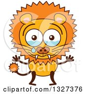 Clipart Of A Cartoon Male Lion Crying Royalty Free Vector Illustration by Zooco