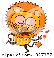 Clipart Of A Cartoon Male Lion Dancing To Music Royalty Free Vector Illustration by Zooco