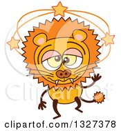Clipart Of A Cartoon Dizzy Male Lion Royalty Free Vector Illustration by Zooco