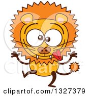 Clipart Of A Cartoon Goofy Male Lion Making Funny Faces Royalty Free Vector Illustration by Zooco