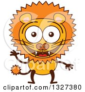 Clipart Of A Cartoon Male Lion Waving Royalty Free Vector Illustration by Zooco