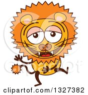 Clipart Of A Cartoon Male Lion Laughing Royalty Free Vector Illustration by Zooco