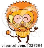 Clipart Of A Cartoon Male Lion Talking On A Smart Phone Royalty Free Vector Illustration by Zooco