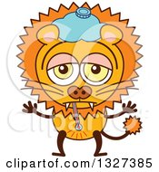 Clipart Of A Cartoon Sick Male Lion Royalty Free Vector Illustration by Zooco