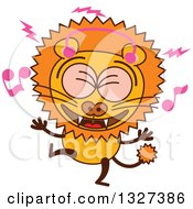 Clipart Of A Cartoon Male Lion Singing And Dancing To Music Royalty Free Vector Illustration by Zooco