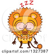 Clipart Of A Cartoon Male Lion Dozing Royalty Free Vector Illustration