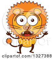Clipart Of A Cartoon Surprised Male Lion Royalty Free Vector Illustration by Zooco