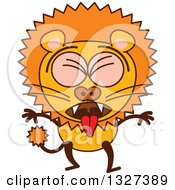 Clipart Of A Cartoon Male Lion Vomiting Royalty Free Vector Illustration by Zooco