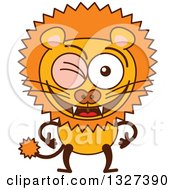 Clipart Of A Cartoon Male Lion Winking Royalty Free Vector Illustration by Zooco
