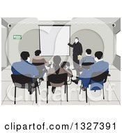 Clipart Of A Rear View Of Students And A Teacher In A College Class Room Royalty Free Vector Illustration