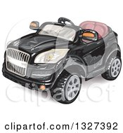Clipart Of A Convertible Black Car Royalty Free Vector Illustration
