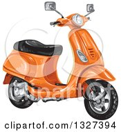 Clipart Of An Orange Scooter Royalty Free Vector Illustration