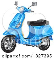 Clipart Of A Blue Scooter Royalty Free Vector Illustration