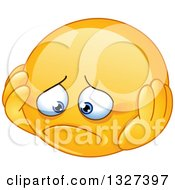 Clipart Of A Cartoon Depressed Yellow Smiley Emoticon Royalty Free Vector Illustration