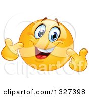 Clipart Of A Cartoon Yellow Smiley Emoticon Pointing At Himself Royalty Free Vector Illustration
