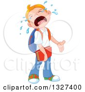 Clipart Of A Cartoon Caucasian School Boy Crying When He Has To Go Back To School Royalty Free Vector Illustration by Pushkin