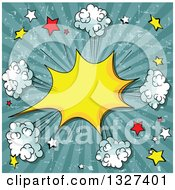 Clipart Of A Grungy Distressed Yellow Comic Burst With Poofs And Stars Over Rays Royalty Free Vector Illustration