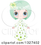 Cartoon Blue Eyed Green Haired White Girl In A Polka Dot Dress