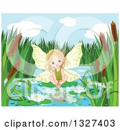 Clipart Of A Cute Blond White Toddler Fairy Girl Sitting On A Pond Lily Pad Royalty Free Vector Illustration