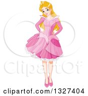 Clipart Of A Happy Caucasian Princess Sleeping Beauty Posing In A Pink Dress Royalty Free Vector Illustration by Pushkin