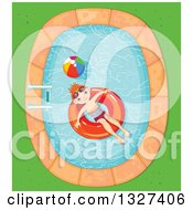 Clipart Of A Happy Red Haired White Boy Floating In An Inner Tube In A Swimming Pool Royalty Free Vector Illustration