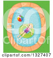 Clipart Of A Happy Blond Girl Floating In An Inner Tube In A Swimming Pool Royalty Free Vector Illustration